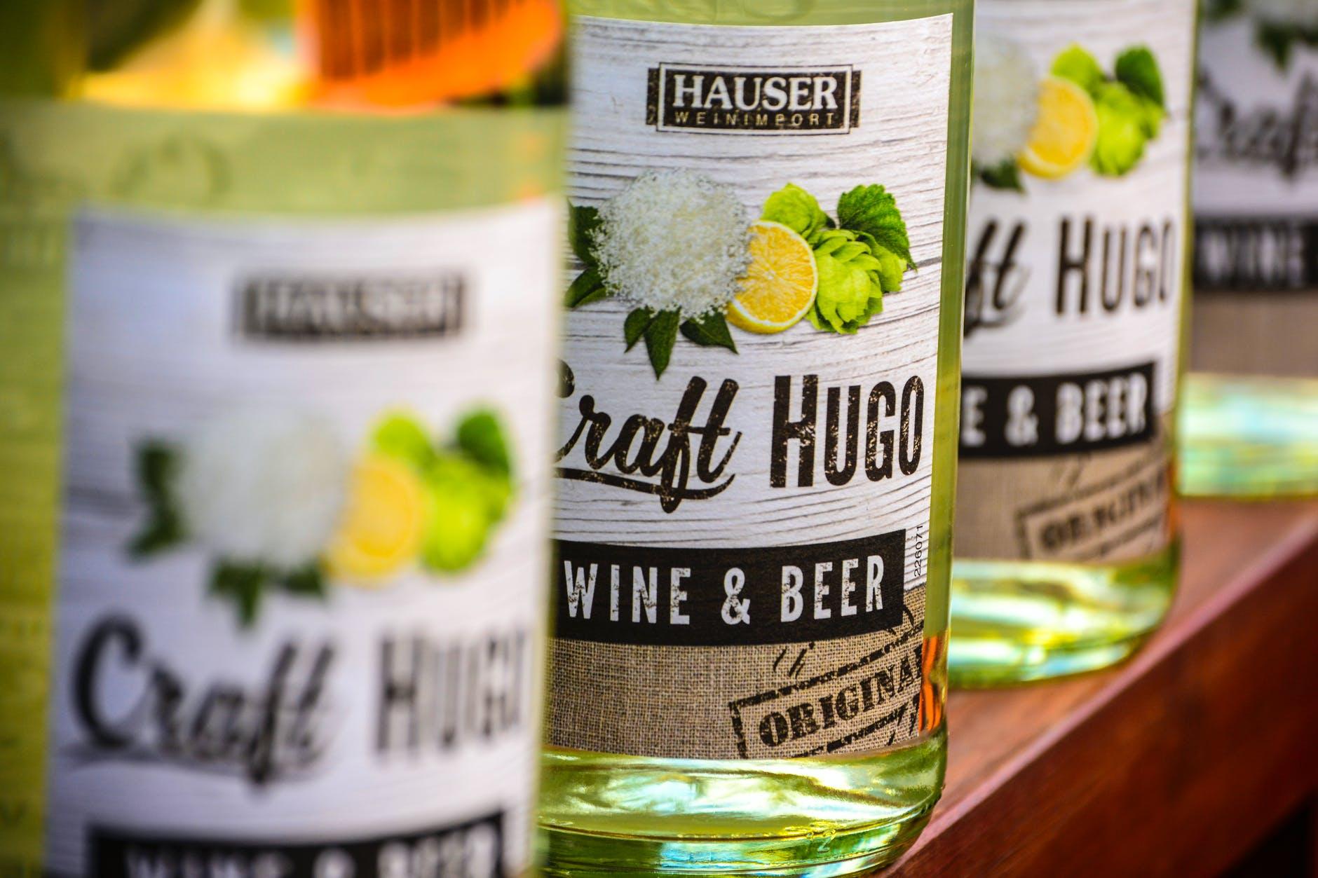 hauser craft hugo wine and beer bottles